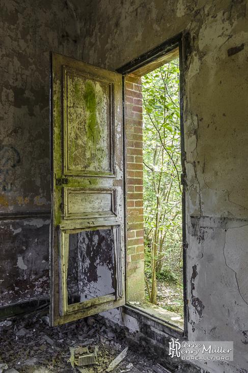 Porte moisie d'une maison abandonnée en forêt