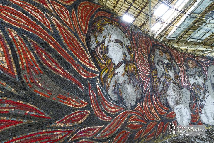 Karl Marx, Friedrich Engels et Lénine en mosaïque