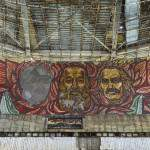 Portraits de Todor Givkov, Karl Marx et Lénine en mosaïque