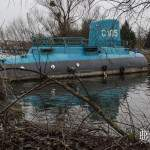 Casse péniche et sous-marin C105 attendant sa destruction à Conflans