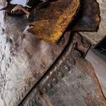 Entaille de découpe dans la coque d'une péniche