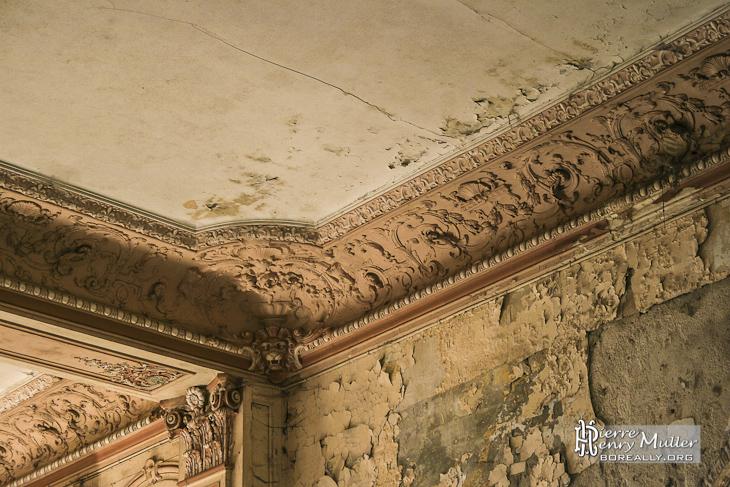 Détails des moulures au plafond dans les pièces principales du château de Bonnelles