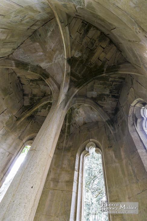 Voûte d'une des tours du château en ruine