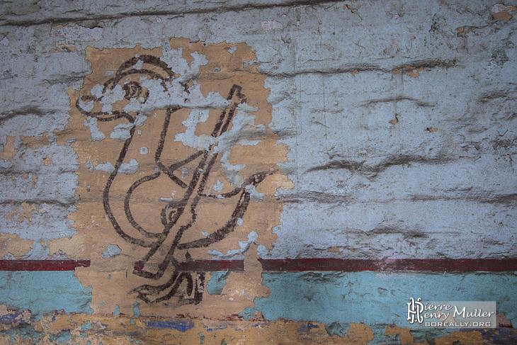 Dessin d'un canard armé d'un fusil au fort de la Chartreuse