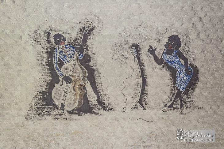 Dessin chanteuse noire de Jazz et contrebassiste au Fort de la Chartreuse