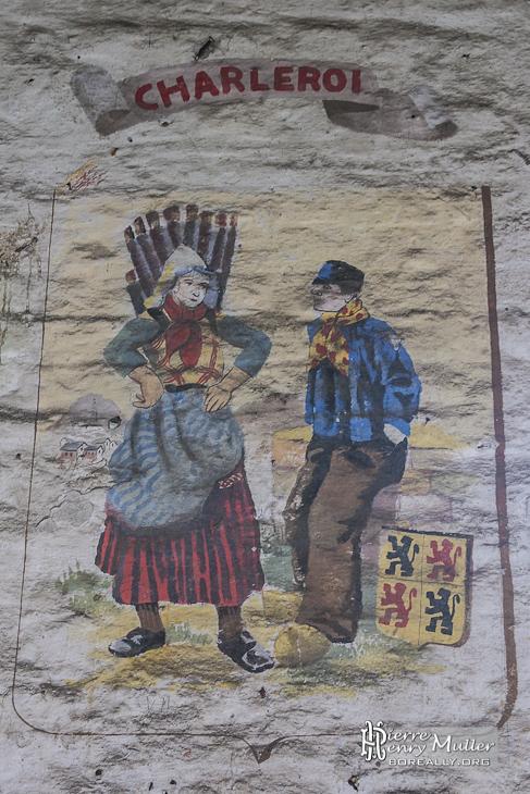 Dessin d'un couple belge en tenue traditionnelle