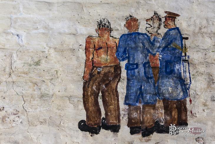 Dessin d'infirmiers faisant des piqûres aux soldats belges