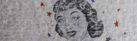 Dessin en noir et blanc de Marilyn Monroe sur les murs du fort de la Chartreuse....