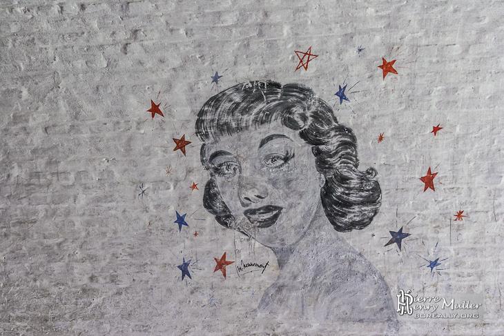 Dessin de Marilyn Monroe sur les murs du fort de la Chartreuse