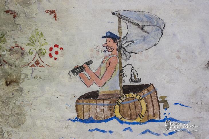 Dessin d'un marin sur une embarcation de fortune