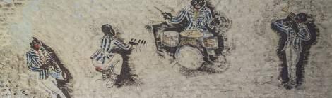 Dessin de joueurs de jazz afro-américains sur les murs des chambres du Fort de la Chartreuse.