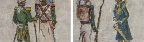 Deux conversations de soldats belges en diptyque sur les murs du Fort de la Chartreuse à Liège....