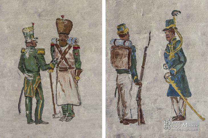 Diptyque de dessins de soldats belges en conversation au Fort de la Chartreuse