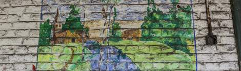 ...Peinture d'un paysage sur les murs du fort de la Chartreuse...