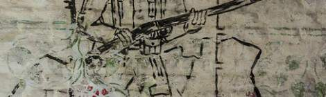 Soldat belge en arme dessiné sur un mur du fort de la Chartreuse