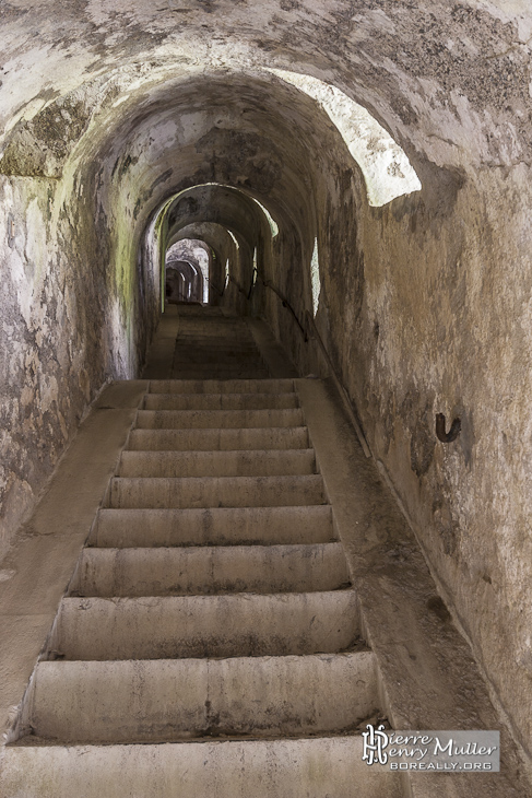 Escalier creusé dans la roche éclairé par des ouvertures vers l'extérieur