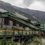 Grue ferroviaire mobile abandonnée à la gare de Canfranc