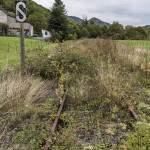 Ligne ferroviaire abandonnée Pau-Canfranc avec signalisation et végétation