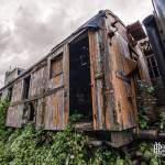 Wagon marchandise abandonné reprit par la végétation en HDR