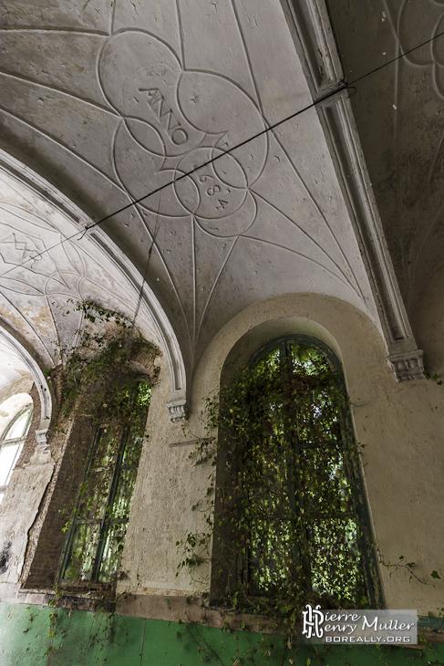 Voutes et lierre grimpant au mur au monastère de Mechelen
