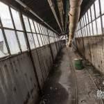 Passerelle inter bâtiments avec rails pour chariots à la papeterie Darblay