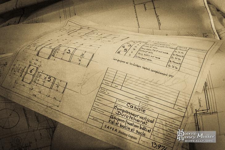 Plan dessin industriel goujon fixation bâti compresseur vertical SAFEA