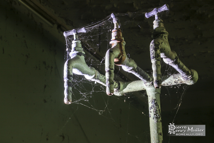 Triple robinet du laboratoire de chimie avec les toiles d'araignées à l'usine SAFEA