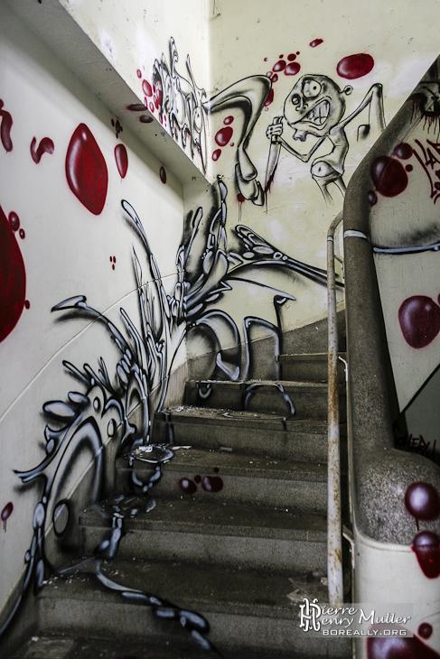 Graph recouvrant en 3 dimensions un escalier du sanatorium du Vexin