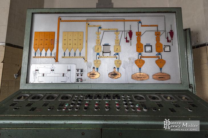 Panneau de contrôle du brassage des cuves à bière à Stella Artois