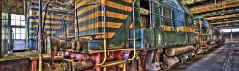 Locomotives de manœuvre attelées et abandonnés au dépôt de Charleroi en HDR impressionniste....