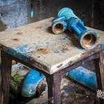Conduite Rouillée sur un tabouret à l'usine Pierre Laulhère