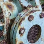 Détail de rouille sur un moteur à l'usine Pierre Laulhère