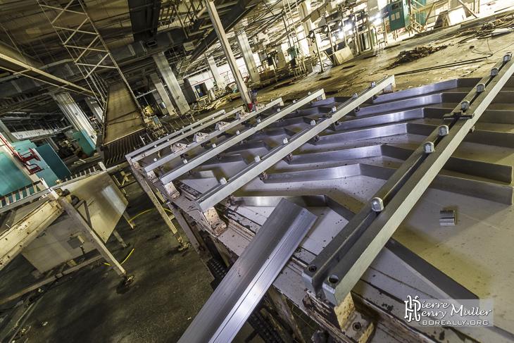 Rails d'alignement sur la chaine de production