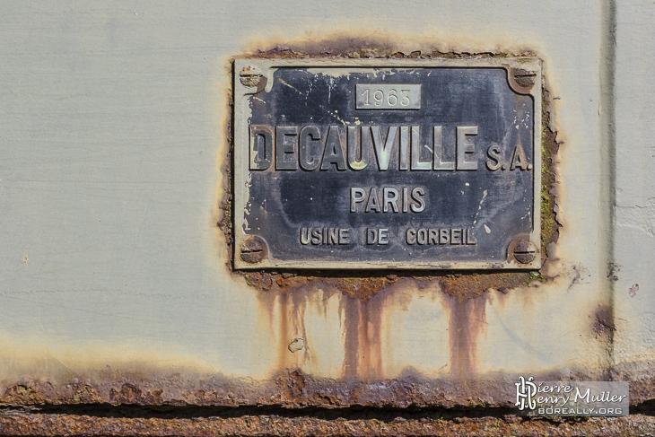 Plaque rouillée société Décauville SA Paris