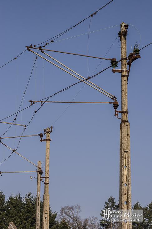 Caténaires de la ligne passant à Oradour sur Glane
