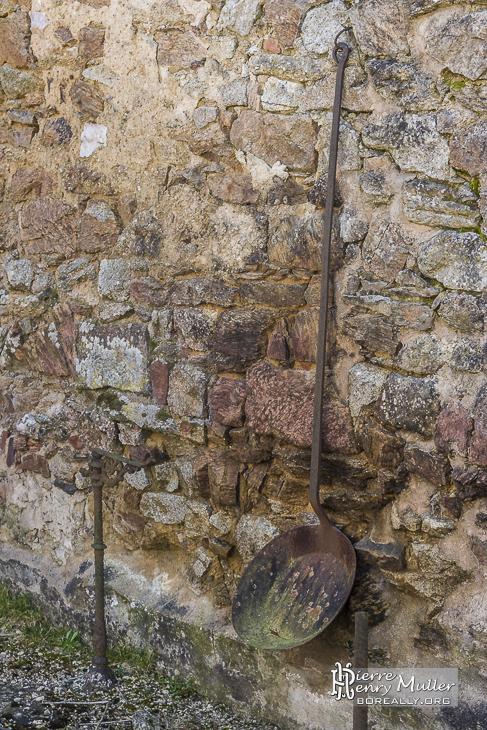Poil à long manche dans les ruines