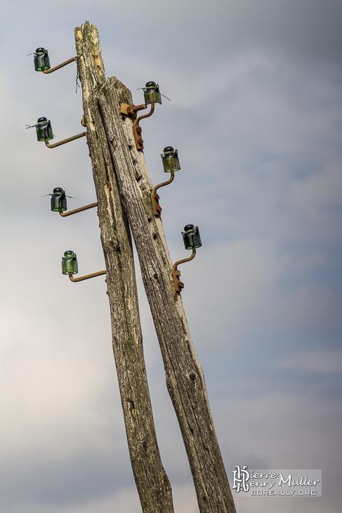 Poteau électrique en bois avec isolateurs en verre