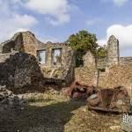 Ruine de maisons avec voitures à Oradour