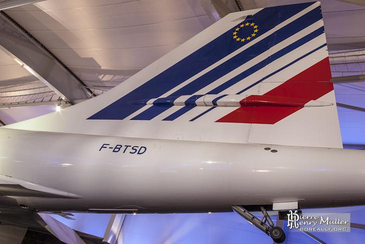Empennage arrière et roulette de queue du Concorde Sierra Delta