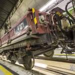Attelage entre une Sprague et wagons plateaux pour les travaux sur voie