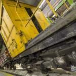 Détail de la motrice Sprague jaune pour les travaux d'entretien du métro