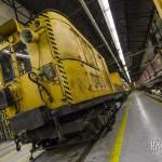 Motrices Sprague jaune utilisée pour les convois d'entretien des voies