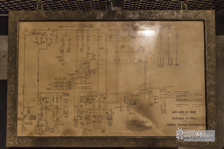 Schéma de distribution électrique au bunker de la Gare de l'Est