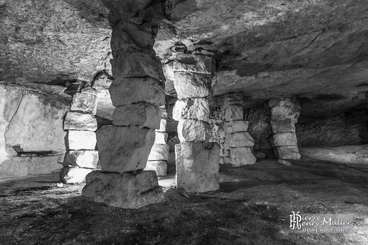 Forêt de piliers à bras en noir et blanc dans la carrière d'Auvers sur Oise
