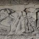 Fresque d'un soldat au balcon de la première guerre mondiale