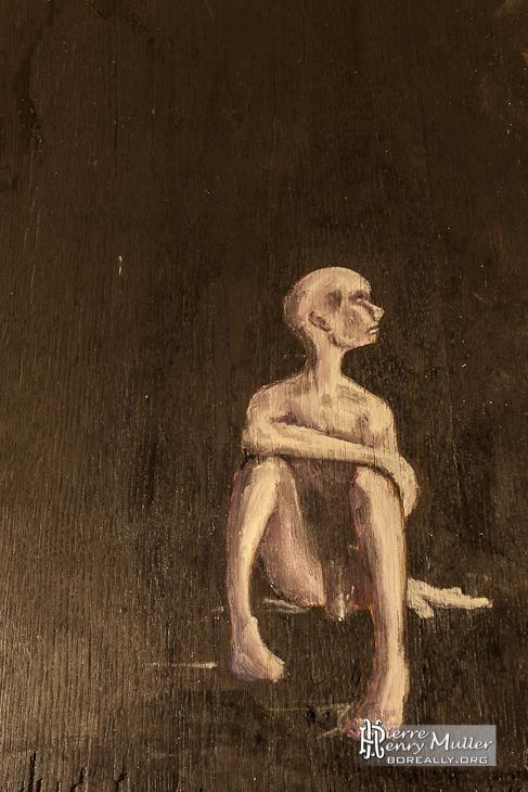 Peinture d'un homme seul sur bois par les Petits Artistes Parisiens