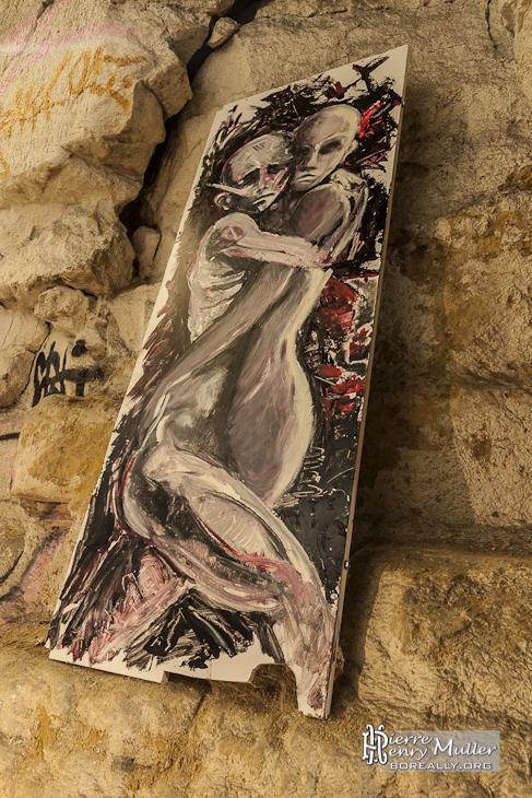 Peinture de personnes enlacées des Petits Artistes Parisiens