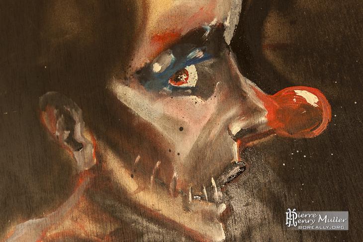 Peinture d'un portrait de Clown par les Petits Artistes Parisiens