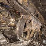 Détail des roues d'un chariot sur rails dans la carrière Gagny Saint Pierre