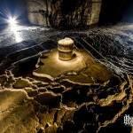 Light Painting d'un seau de collecte des eaux d'infiltration avec concrétion